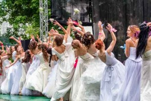 MOSCOW, RUSSIA - 25 MAY: Runaway Brides Cosmopolitan took place in Ermitage Garden.